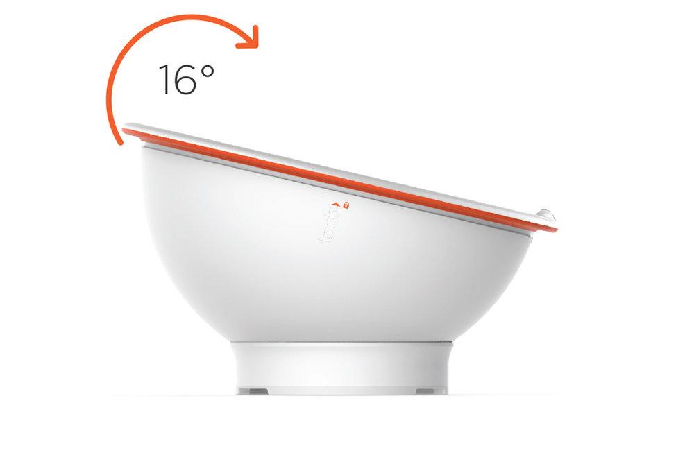 facilitez-vous le geste - Appuyez sur la poignée pour incliner le bol de 16 degrés et retrouvez-vous dans la position idéale pour mélanger sans effort.• Inclinez. Mixez sans effort.