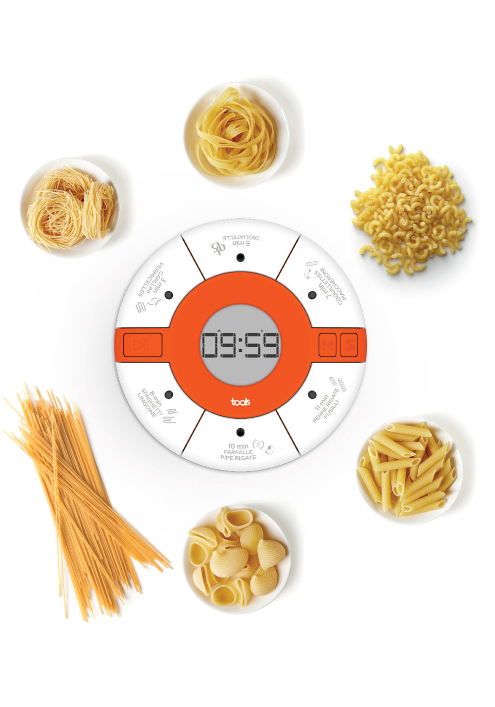 UN Timer dédié aux amoureux des pâtes - Ce timer magnétique devient très vite indispensable pour les amateurs de pâtes. Il trouve rapidement sa place sur la porte du réfrigérateur.• 6 temps pré-programmés• Option de réglage manuel• Design ergonomique• Minuteur magnétique500294 MINUTEUR À PÂTES