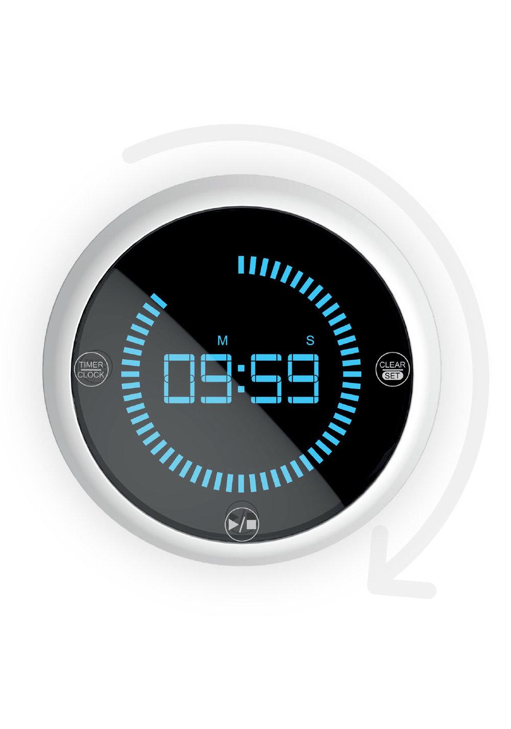 facilitez-vous le geste - Tournez simplement l'anneau rotatif dans le sens des aiguilles d'une montre pour régler votre temps.