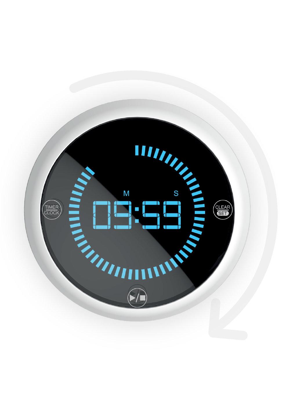 TIMER CURVE - • Minuteur rotatif• Touches sensitives• Design ergonomique• Base antiglisse et magnétique50026 CURVE Timer
