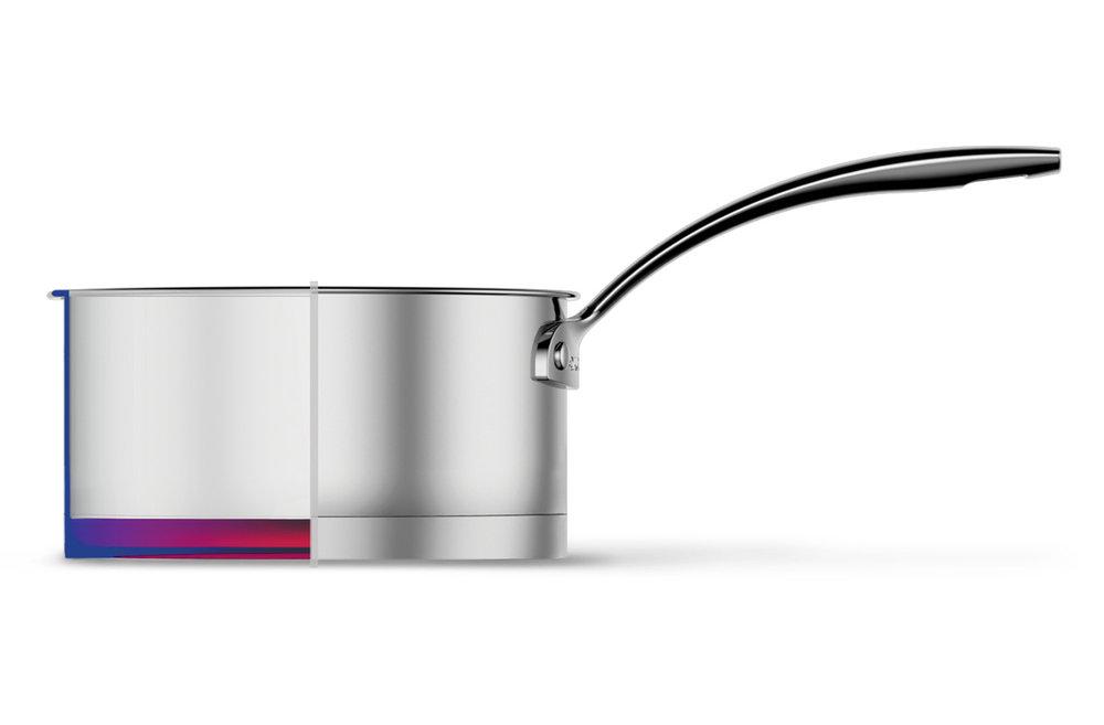 CORPS INOX 18/10 + LSHAPE - LSHAPE est une des dernières innovations exclusives d'Aubecq. Fond thermofrappé bimatière à angle droit (L)pour une répartition homogène de la chaleur. Tous les matériaux de la capsule du fond sont dans le prolongement du corps ce qui permet de diffuser la chaleur même sur la périphérie du corps.• Permet de cuire vite et sur l'ensemble de la paroi de l'ustensile• De maintenir au chaud même à feu doux