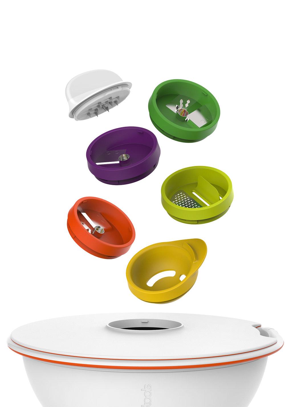 SPIRALIZER LID - L'accessoire indispensable du STRAINER BOWL. Couvercle ø 24 CM avec 3 tailles de lames de découpe spiralizer (spaghetti, fettucini et ruban), un zester et un egg separator.500344 Spiralizer lid