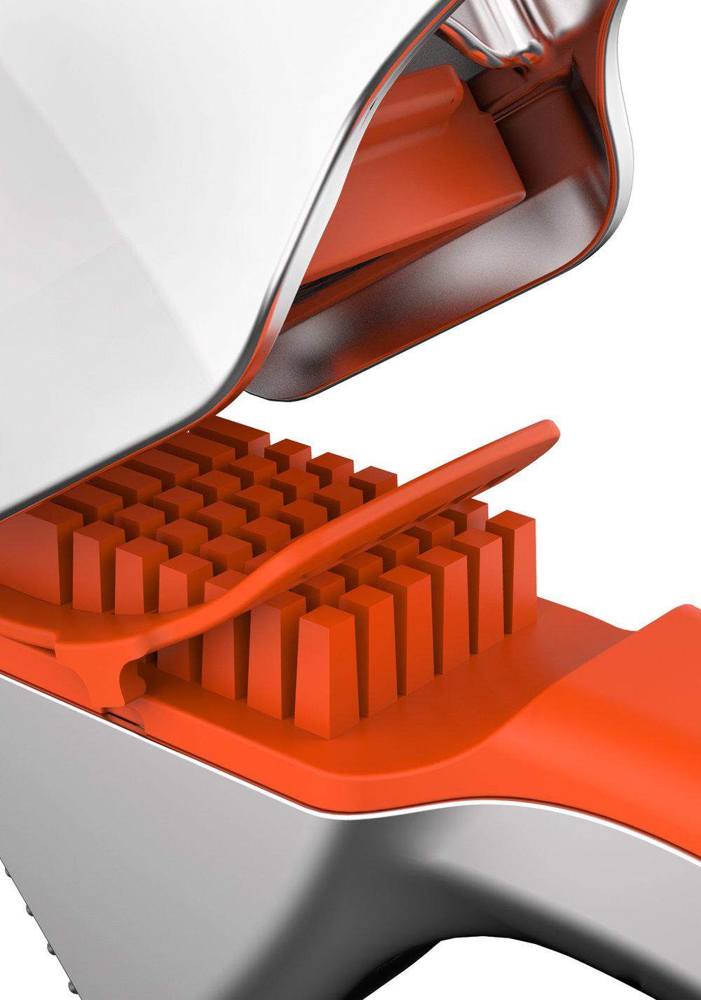 nettoyage facile - Il suffit simplement de tirer sur la languette de nettoyage pour nettoyer la grille.500332 GARLIC PRESS