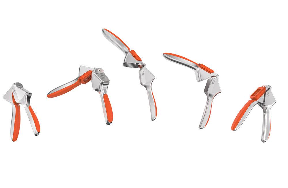 Simplifiez-vous le geste - 1 : Émincez votre ail2 : Faites pivoter la poignée à 360˚3 : Rabattez la poignée...4 : Pressez votre ail• Simple d'utilisation
