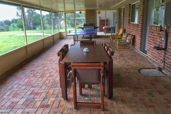 Waterfall Way Farmstay — protected verandah