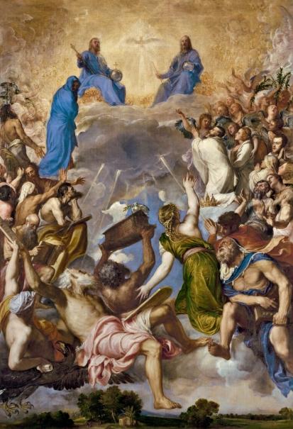 Gloria de Tiziano, con Jesús a la derecha del Padre.