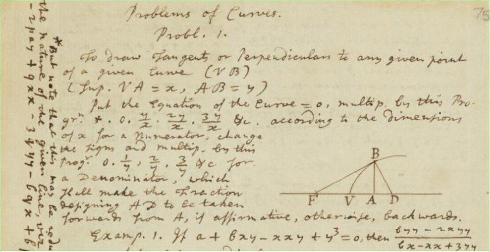 """""""Los primeros documentos de Newton en Cambridge"""" (1666).  Problemas de curvas. Newton."""