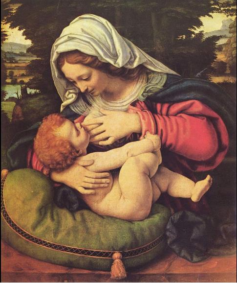 La Virgen del cojín verde. Andrea Di Solaio (1507). Museo del Louvre. París.