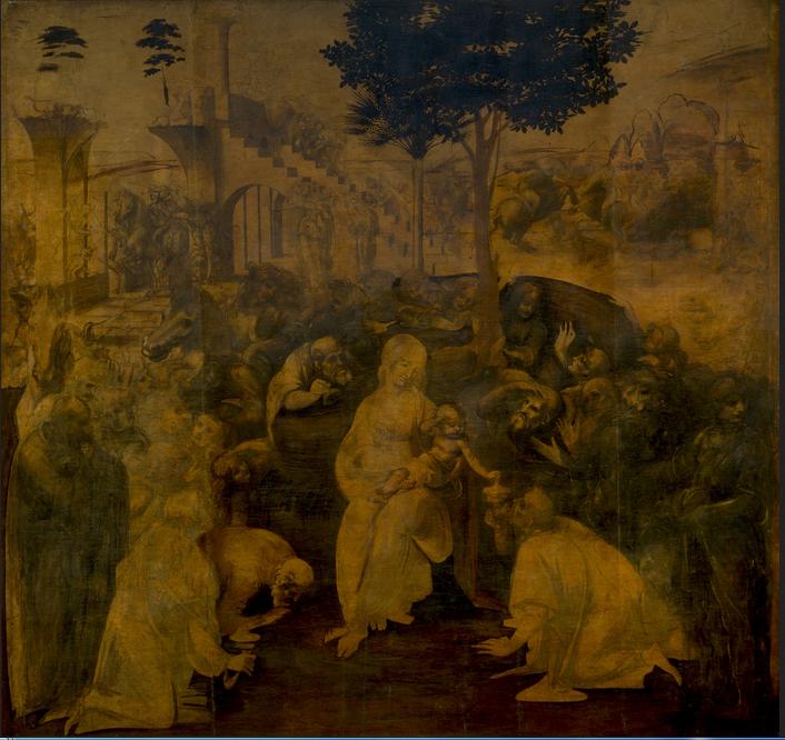 Adorazione dei Magi. Leonardo Da Vinci (1481-1482). Galería Uffizi. Florencia.