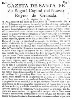 Ejemplar de  La Gazeta de Santa Fé .