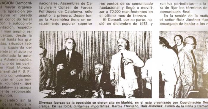 Coordinación Democrática: García-Trevijano, Ruiz-Giménez, Eurico de la Peña y José María de Zavala