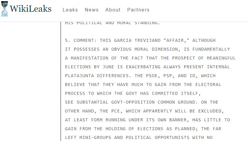 Cable de  Wikileaks , mencionando a Antonio García-Trevijano.