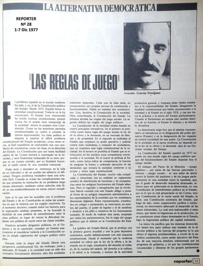 Ejemplar de la revista  Reporter .