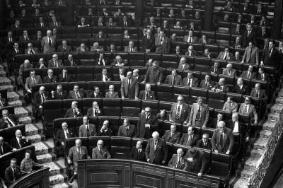 Sesión ordinaria de Cortes en la que se aprueba la Ley para la Reforma Política.