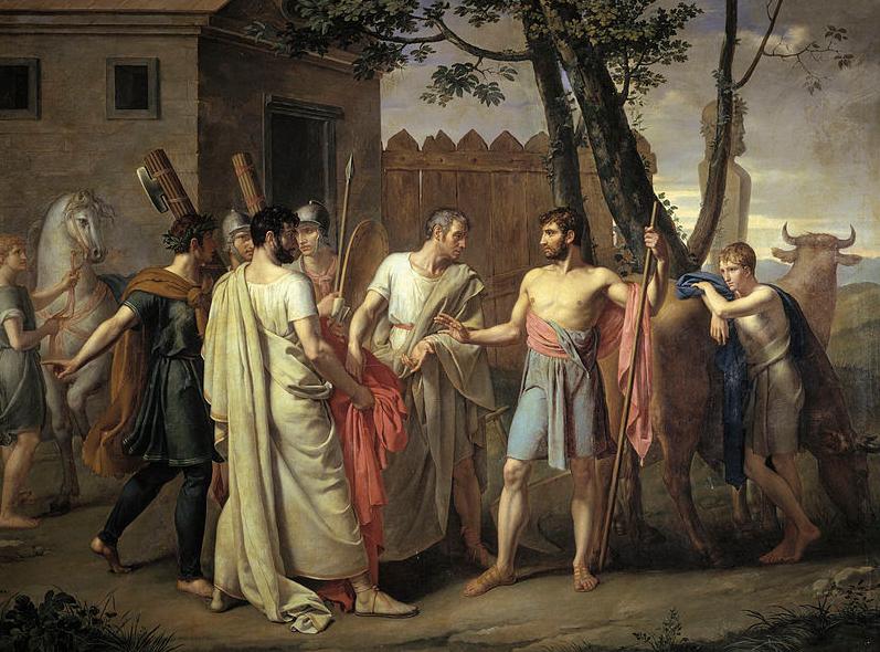 Cincinato abandona el arado para dictar leyes a Roma. (1806) Ribera. Museo del Prado.