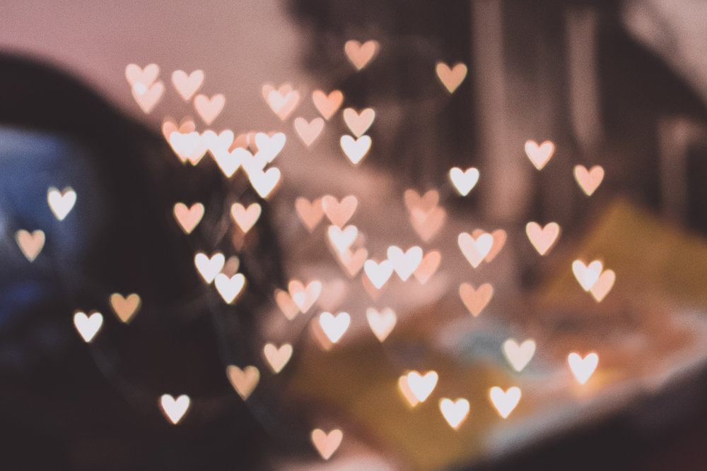 blurry pink hearts