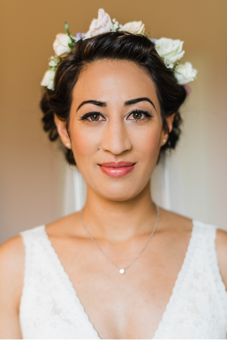 Bride with floral hair design
