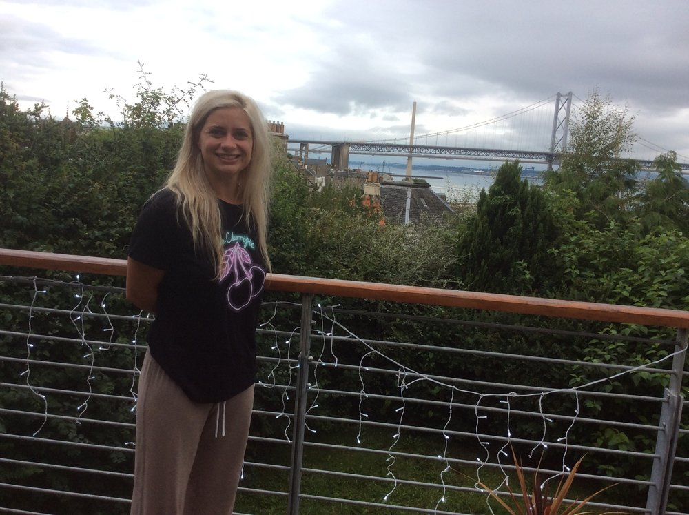 This before shot of Emma was taken as we arrived and marvelled at the view