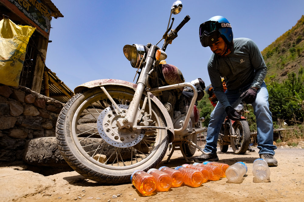 Why crowdfunding is necessary: If our group of 8 hits the same fuel strike Vishu and I hit, we would end up paying over $500 to fill all the bikes. In a remote area, it's that or be stuck for weeks. Welcome to Nepal.