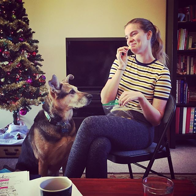 When there's food in your audition, Dakota will be VERY into your acting. Good thing @missmegaldridge was ok with having an unexpected scene partner. 😳🐶😂 . #auditioncoach #actingwithdogs #canihavesome #yesmytreeisstillup #dontjudgeme 🎄