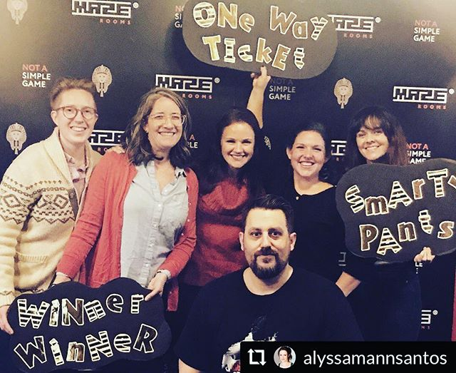 """Did my first escape room last night! And by """"did"""" I mean I walked around in a state of confusion and touched a lot of random objects while growing increasingly anxious and claustrophobic. I'm pretty sure silently nodding my head like I knew what was happening is why our team won. YOU'RE WELCOME, @alyssamannsantos!!! 😃 #escaperoom #thatwasstressful #iddoitagainthough"""