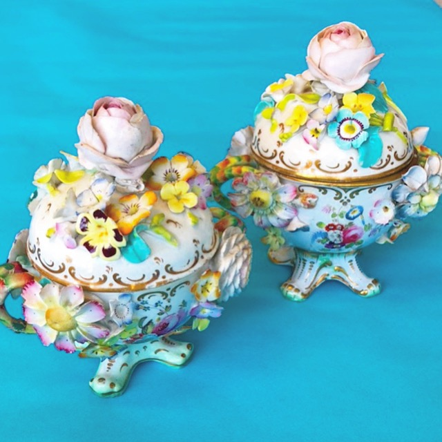 A Pair of Antique Copeland Trinket Jars