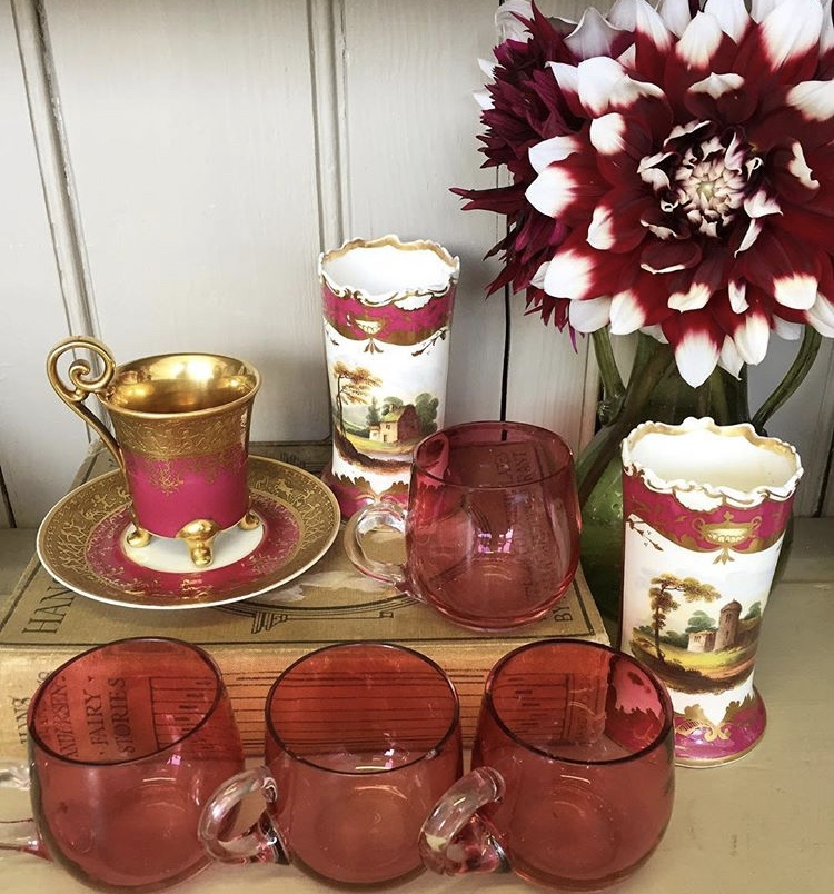 Antique Custard Cups, Hand-painted Vases and an Austrian Cup and Saucer