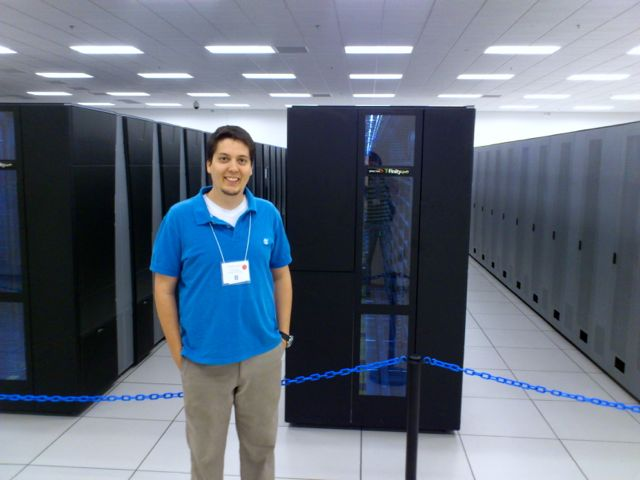 The author of this chronicle visiting the Blue Waters supercomputer.