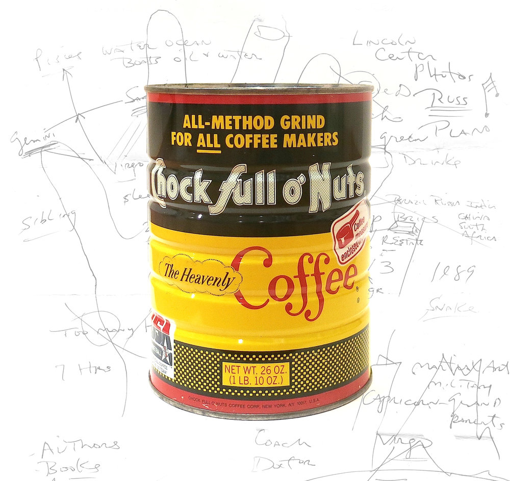 """- """"Join 5-50 gallery as we open up and brew a 26 year old can of coffee previously owned by one of New York and Americas most prominent art and culture critics (Story/ Identity of critic to be revealed at the opening). The general public, """"critics"""" of all kinds and anyone with an """"opinion"""" is invited to come and review the old coffee. At the culmination of the exhibition the coffee lid will be welded back into place and all reviews will be sealed inside with the coffee can to be buried as a time capsule.During the tasting you will be able to view other works in the show such as a painting series based on Pantone 448c, a continuous loop of the top 40 billboard hits of 1992; """"AND """"MUCH"""" MORE"""" """"-The blue water absorbs all colors except for blue. Blue, consequently is the only color that the water is not, and only if permitted by the sky…""""For last year's words belong to last year's language, And next year's words await another voice."""" -T.S Eliot """""""
