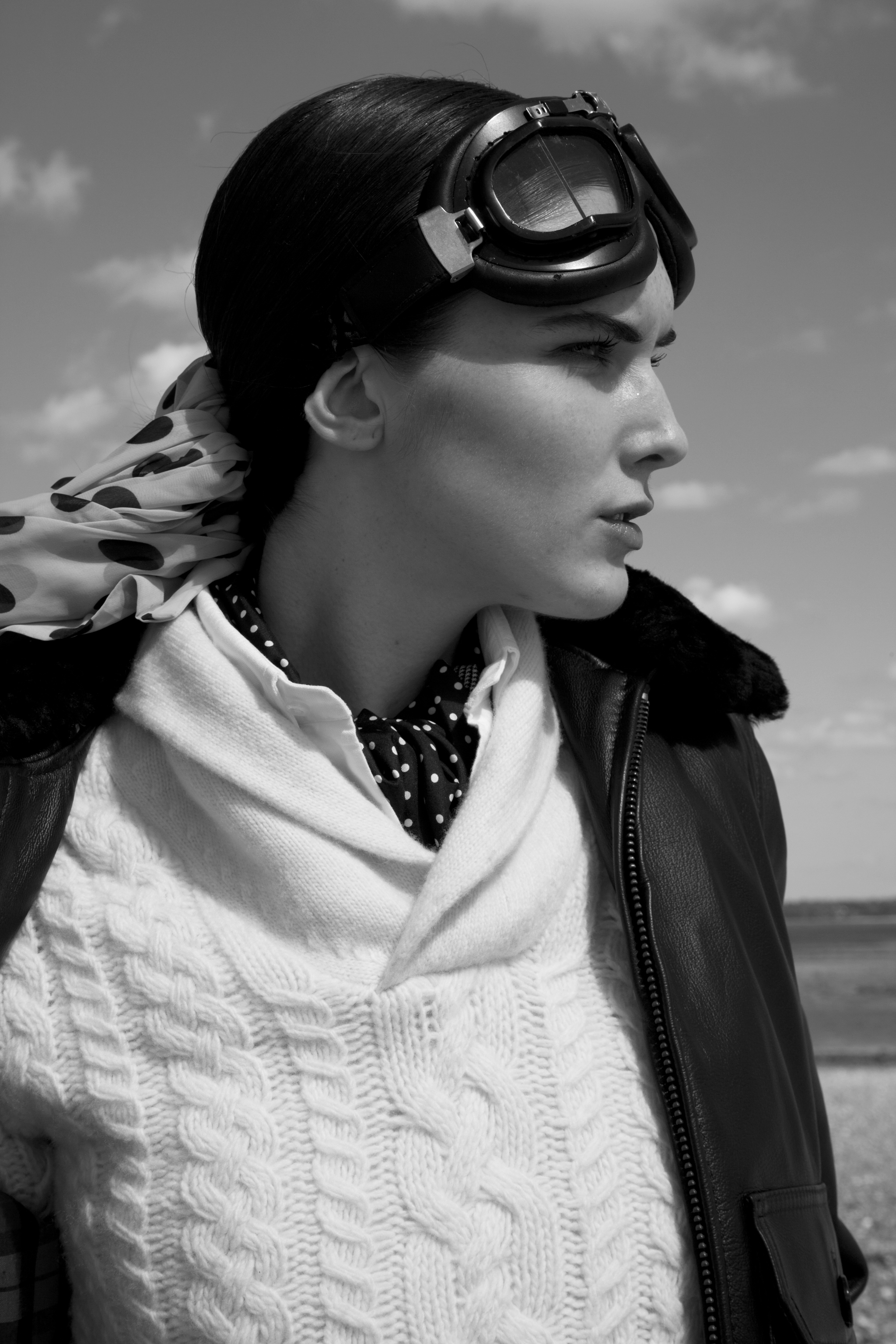 Hamptons beach vintage fashion black and white photography editorial