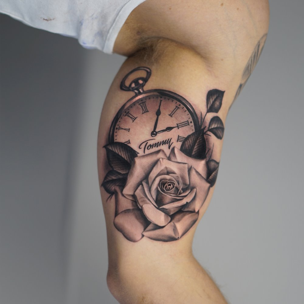 blackhopetattoo colchestertattoo essextattoo realistictattoo blackandgreytattoo rosetattoo rose pocketwatch