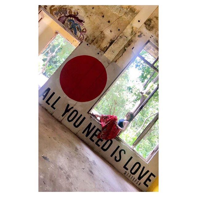 Throwback to that time I visited the abandoned Beatles ashram in incredible India. The phrase says it all.... . . . . . . #tistheseason #seasonoflove #allyouneedislove #beatlesashram #rishikesh #maharishi  #yogalife #seasonalyoga #yogalove #totheroots #yogamemories #yogaretreats #higharchedfeet #dancer #yogini #travelgram #travelingyogini