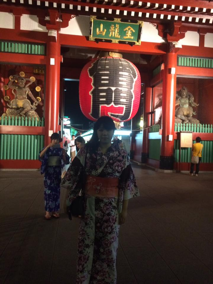 In front of Sensoji Temple before a fireworks festival