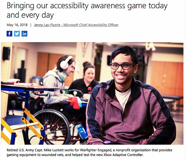Check out a few others of our awesome team members who got to attend the @xbox PR event and speak on our role in the #XboxAdaptiveController journey - and as a result we're featured in a ton of news articles! (one of which written by the one and only @jennylayfluffy - @Microsoft Chief Accessibility Officer) @mikethequad - Social Media Coordinator  @otunleashed - Chief Medical Officer  @kynnjones - Director of Community Outreach #GAAD #accessibletechnology #accessiblegaming #gamingforeveryone #microsoft #xbox