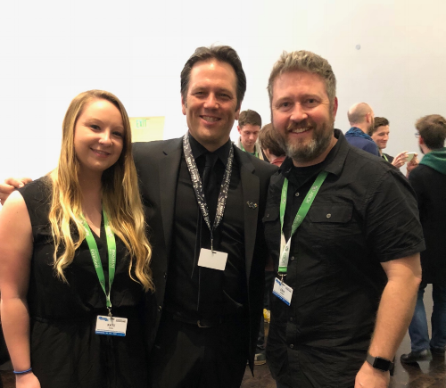 Kaitlyn, Phil Spencer, & Erik at the Xbox Gaming and Disability Community Reception!