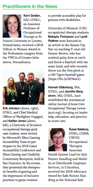 Find this article blurb in the June 14th issue of OT Practice Magazine!