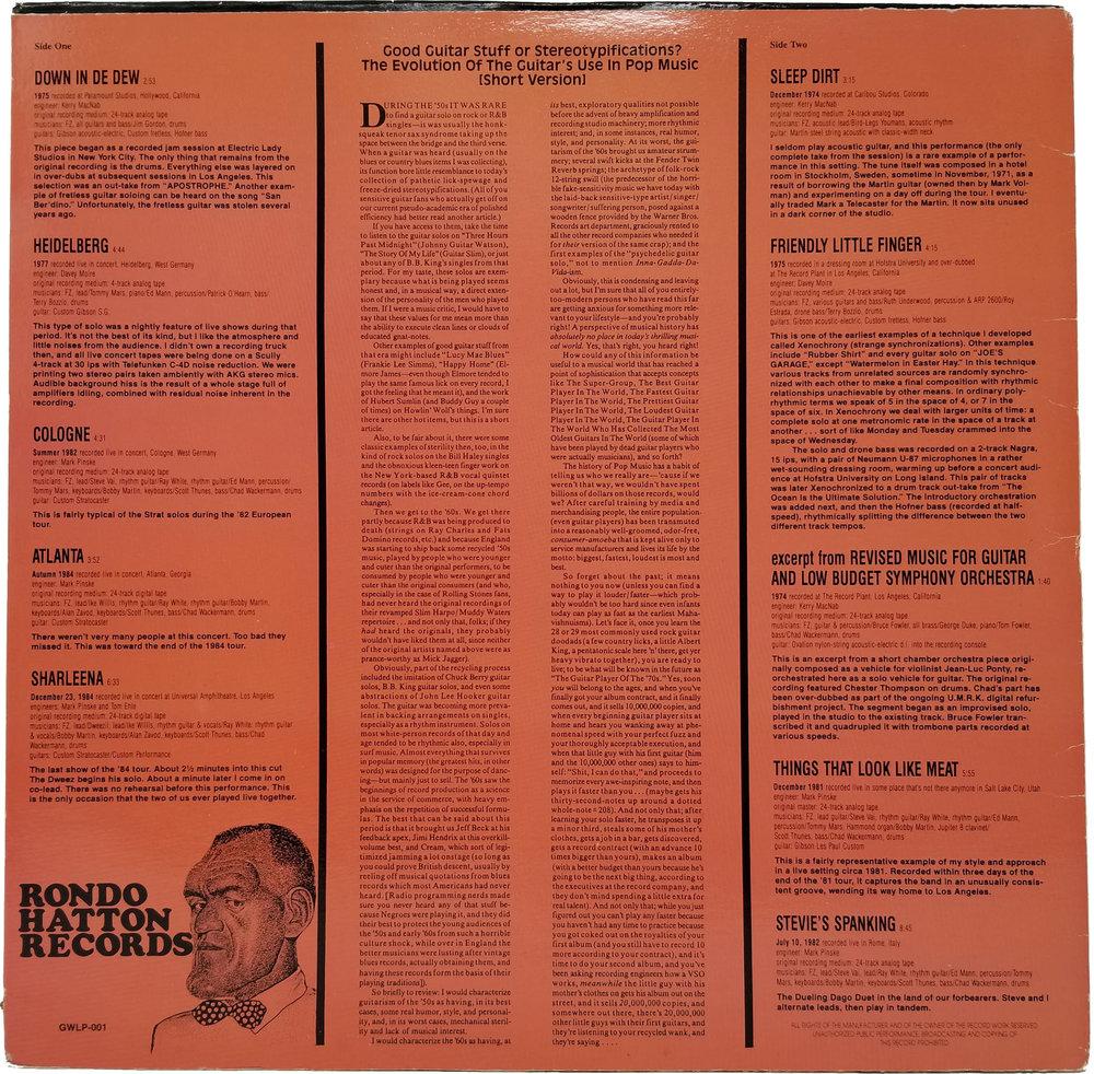 Frank Zappa Guitar Hernia Rondo Hatton 1987 Volver