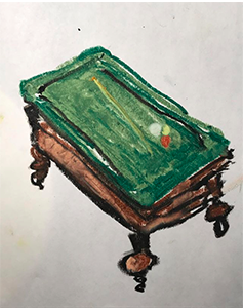 Christian Giordano Saponaro - Pool Table (Inspired by Van Gogh's All Night Cafe, 1888), Oil Pastel