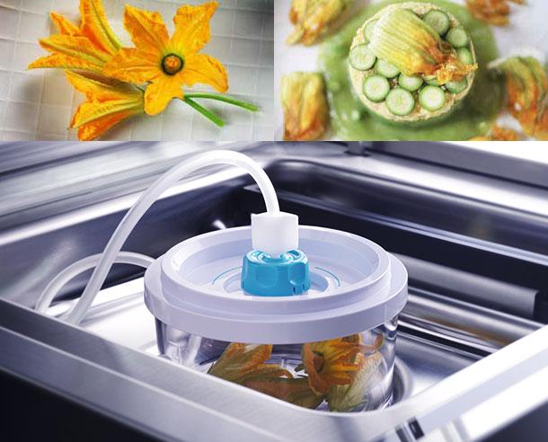 Απαλό Vacuum - Πρόγραμμα για εύθραυστες τροφές όπως μαλακό τυρί, κέικ, σαλάτες και οτιδήποτε συνθλίβεται εύκολα. Αυτή η λειτουργία χρησιμοποιείται για να σφραγίζει ερμητικά τις σακούλες κενού απλά με θερμοσυγκόλληση χωρίς να δημιουργεί αναγκαστικά ένα κενό