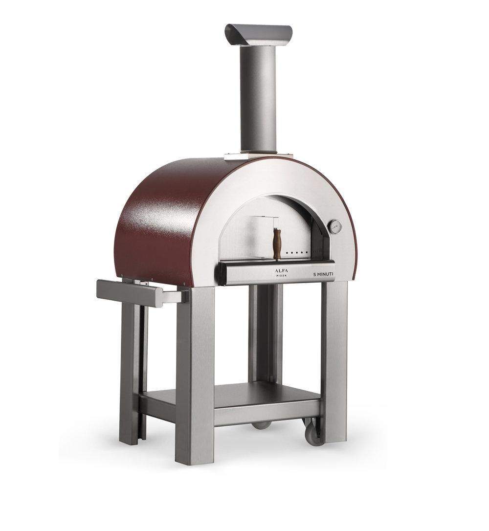 5 minuti - Ακόμα ένας μεσαίου μεγέθους φούρνος με ξύλα, σχεδιασμένους για την εύκολη μετακίνησή του και την ταχύτητα στο μαγείρεμα. Όπως μαρτυρεί και το όνομά του φτάνει στη θερμοκρασία μαγειρέματος σε 5 λεπτά!