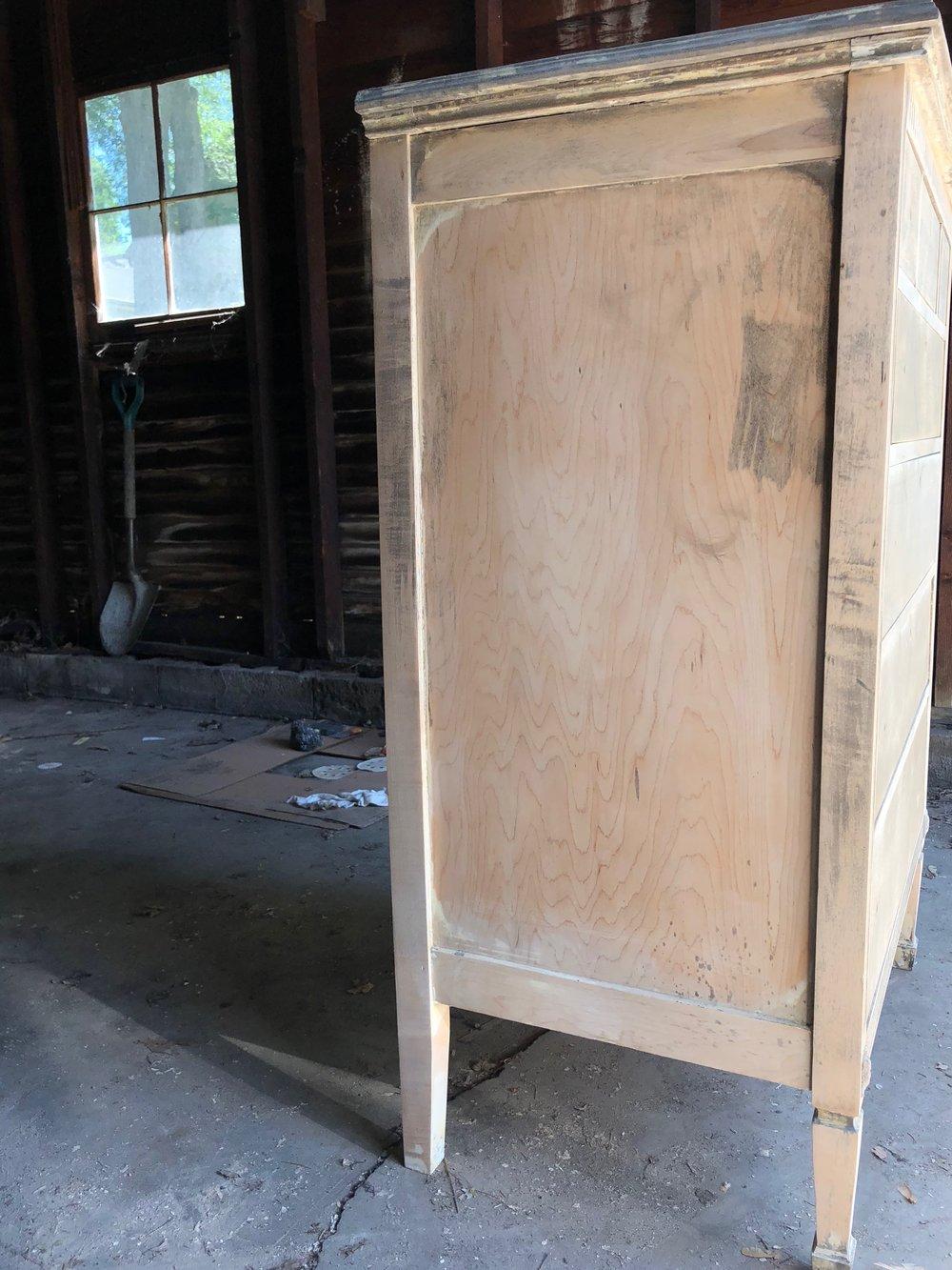 1920s dresser progress after sanding side