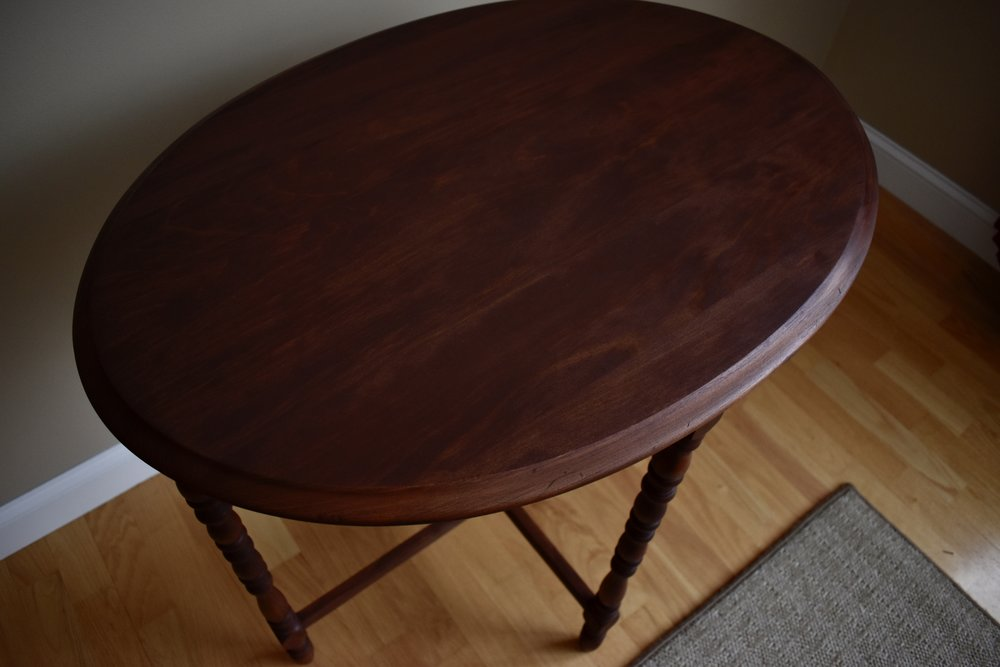 All stained up - tiny table - Ravivé Restoration