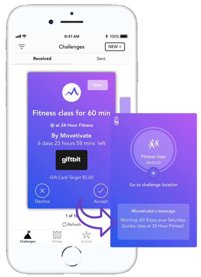 Want Movetivate to Send You Weekly Fitness Challenges? - Sometimes it takes a little nudge to get us to work out.Tell us what kind of challenges you want us to send you and subscribe for $26/month. You'll earn most of it back as we send you a challenge with a $5 gift card reward every week.