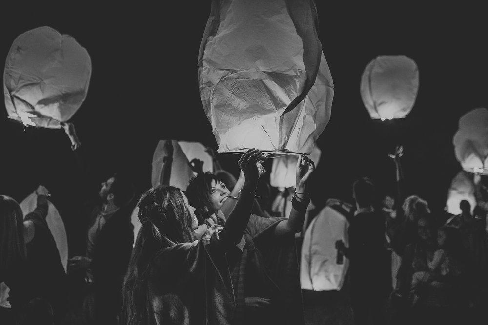 lgbt wedding dunamoy cottages lantern send off