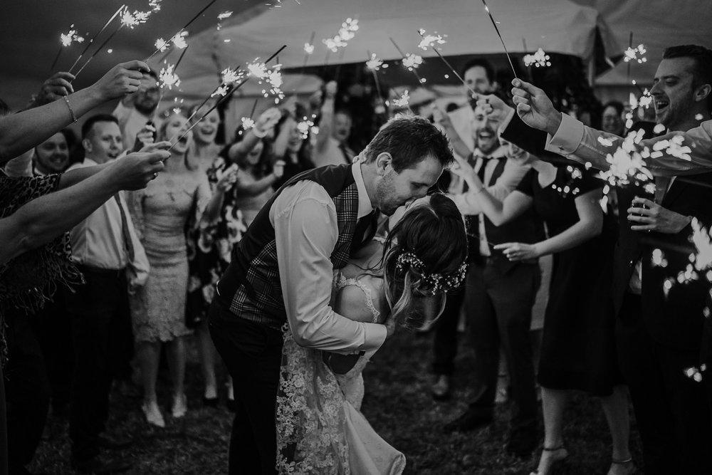 outdoor sparkler exit wedding northern ireland wedding photographers