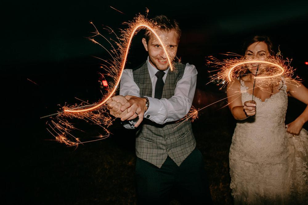 bride and groom sparklers wedding reception Ireland