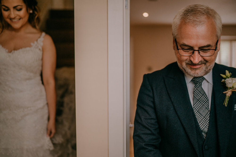 bride and father of the bride first look Northern Ireland Wedding Photographers