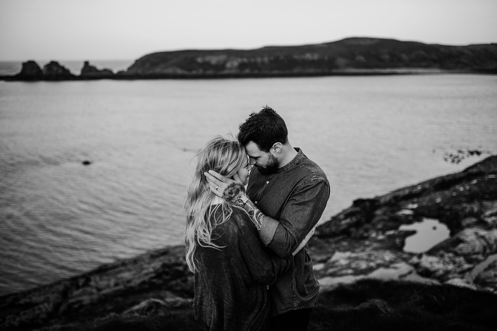 causeway coast engagement photos tattooed couple