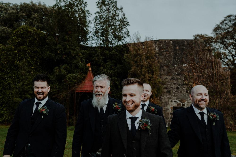 groom and groomsmen  wedding at lissanoure castle