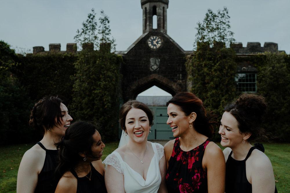 bride and bridesmaids  wedding at lissanoure castle